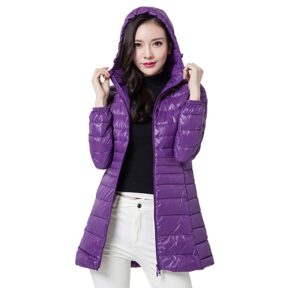 2018 Women Long Jackets   Coat   Winter Warm   Coat   Ultra Light white Duck   Down   Jacket Female Casual Overcoat Slim Solid Hooded Parkas