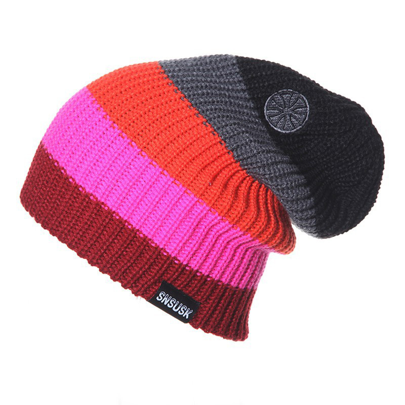 Winter Knitted   Beanie   muts female Warm Cap Men Women Colorful Patchwork Ski Hat   Skullies     Beanies   Crochet hats