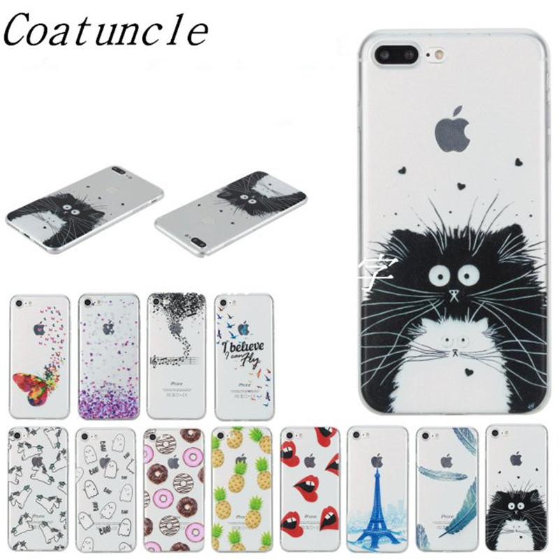 Transparent <font><b>Phone</b></font> Case sFor Apple iPhone 7 / <font><b>7Plus</b></font> Lovely Animal Cat Silicon Soft TPU Back <font><b>Cover</b></font> For iPhone 7 Plus