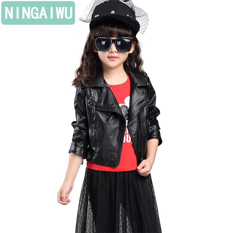 Mädchen PU-Lederjacke Frühling und Herbst Outfit Kinderkleidung - Kinderkleidung - Foto 1