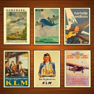 Royal Dutch Airlines New York Travel KLM Air, винтажный Ретро постер, холст, настенная живопись, домашний декор, подарок