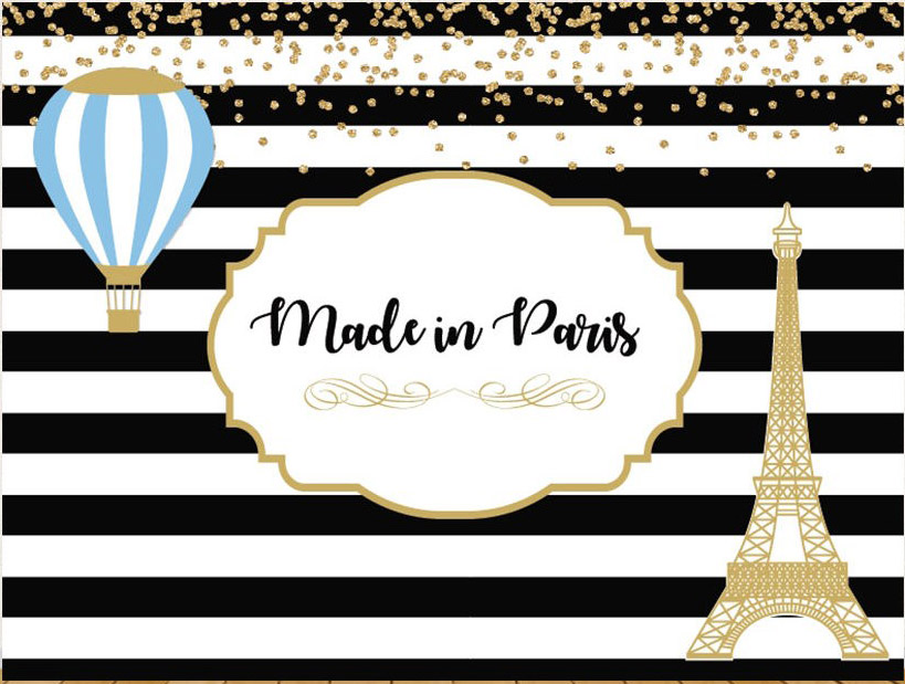 custom baby shower party paris eiffel tower hot air balloon black and white striped background Computer print party backdrop