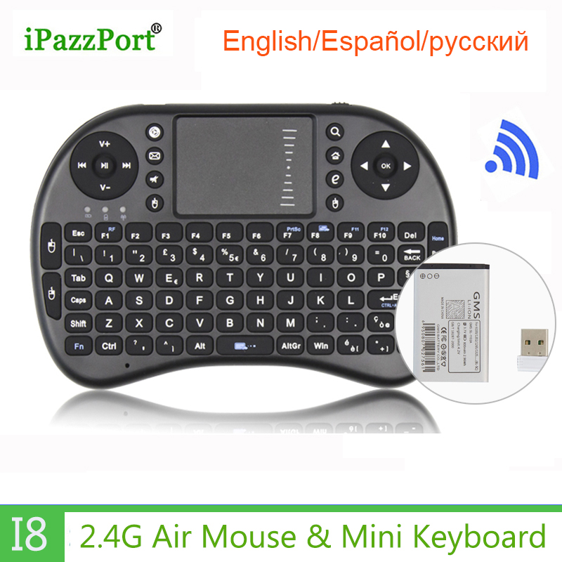 Original Mini Keyboard I8 Russian English Spanish Version 2.4G Wireless Keyboard Touchpad Handheld For Android TV BOX Tablet PC
