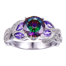 Fashion Rainbow CZ Flower Rings for Women Micro Pave AAA Cubic Zirconia Ring Wedding Bands Silver Ring Ladies Party Jewelry blucome luxury aaa zircon copper ring clear cz micro pave gold color rings for women flower big long section finger ring wedding