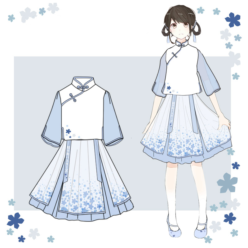 Anohana: The Flower We Saw That Day. Hanfu Improved Chiffon skirt Japanese anime Costumes