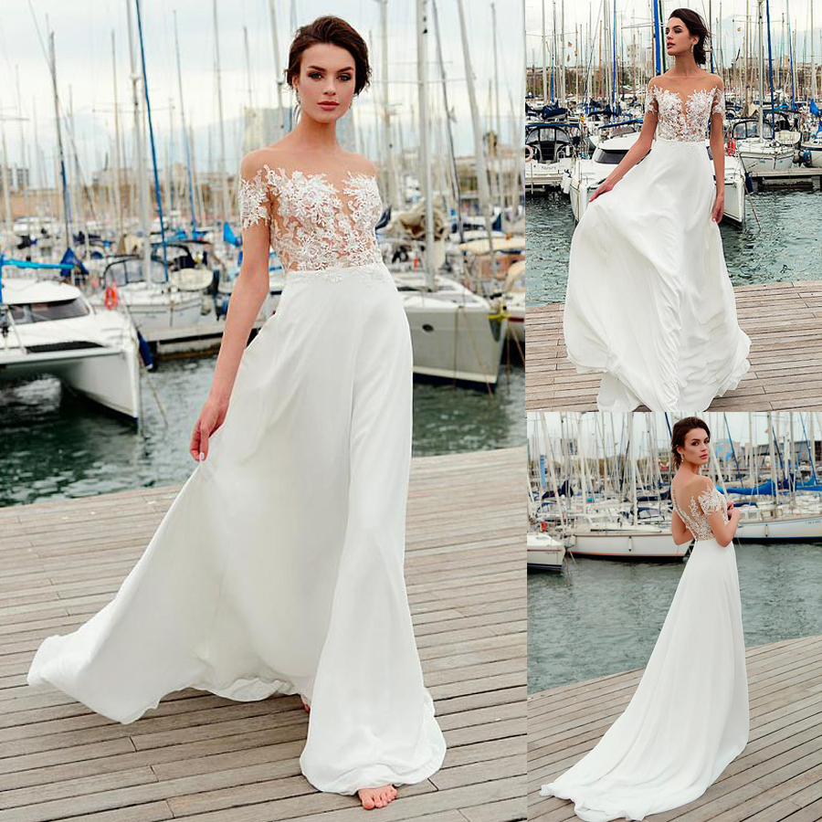 Wonderful Chiffon Jewel Neckline See-through Bodice A-line Wedding Dress With Lace Appliques Short SLeeves Bridal Dress