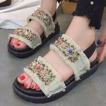 66e685a1f46f6 Summer sandals for women canvas shoes size 4.5-8.5 2018 superstar designer  roma Rhinestone gladiator sandals sandalia feminina