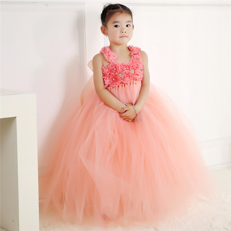 Peach Girl Tulle Tutu Dress Princess Flower Girl Dresses Ball Gown Kid Party Pageant Birthday Bridesmaid Wedding Dress Vestidos mint green girls party tutu dress princess tulle dresses kids pageant birthday wedding bridesmaid flower girl dresses ball gown