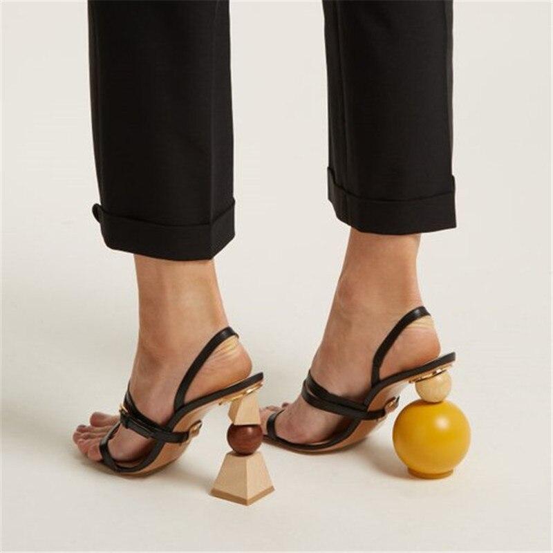 Модные геометрические блоки; женские Босоножки на каблуке; Цвет Черный; с открытым носком; на необычном высоком каблуке; с узким ремешком; Летние сандалии гладиаторы - 4