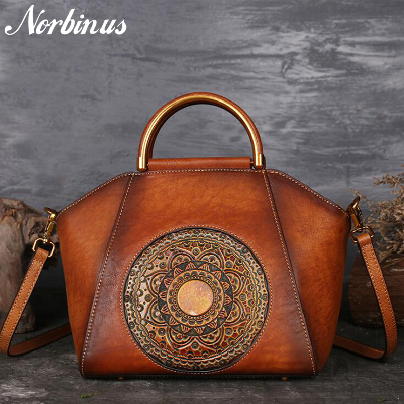 Norbinus Original 100 Genuine Leather Bag Retro Cowhide Women Shoulder Handbags Vintage Manual Painting Crossbody Hobos