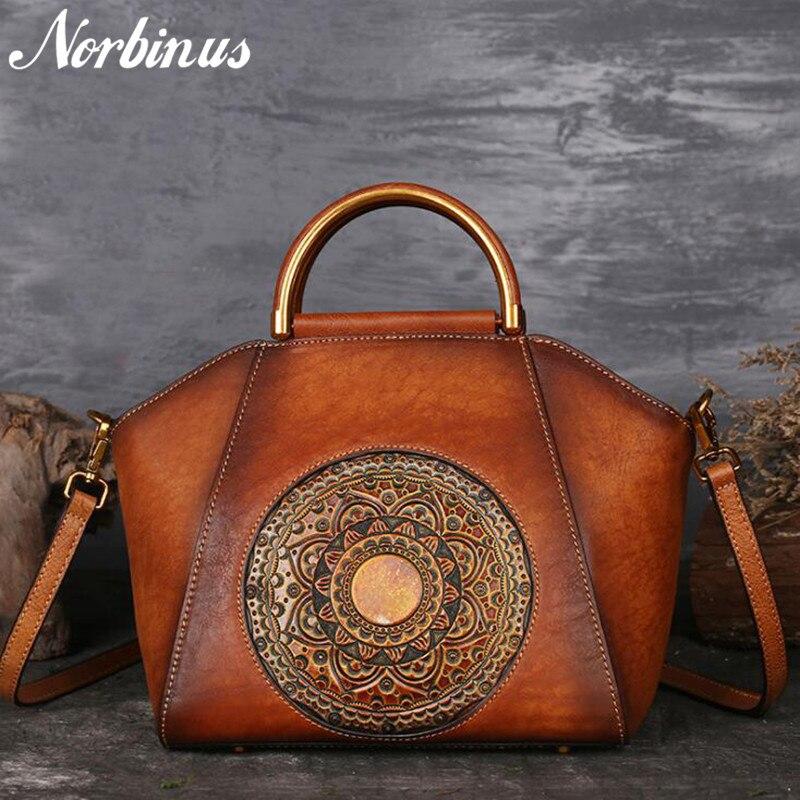 Norbinus Original 100% bolso de cuero genuino Retro piel de vaca mujeres hombro bolsos Vintage Manual pintura Crossbody Hobos bolsos-in Cubos from Maletas y bolsas    1