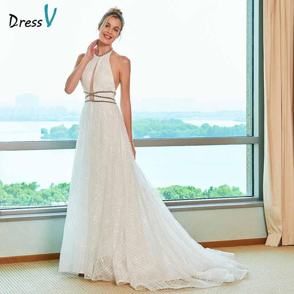Lace Halter Wedding Gown: Dressv Elegant A Line Wedding Dress Halter Neck Court
