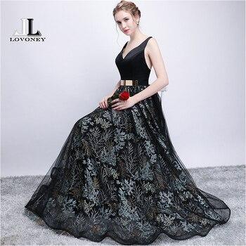 LOVONEY YS407 Sexy V Neck Prom Dresses Open Back Evening Party Dresses Formal Occasion Dress Prom Gown 2018 New Vestido de Festa Prom Dresses
