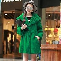 Nerazzurri Winter Faux fur Coat Women with big hood Long sleeve Plus Size Jacket Green Luxury Pleated Female Fake Fur outerwear