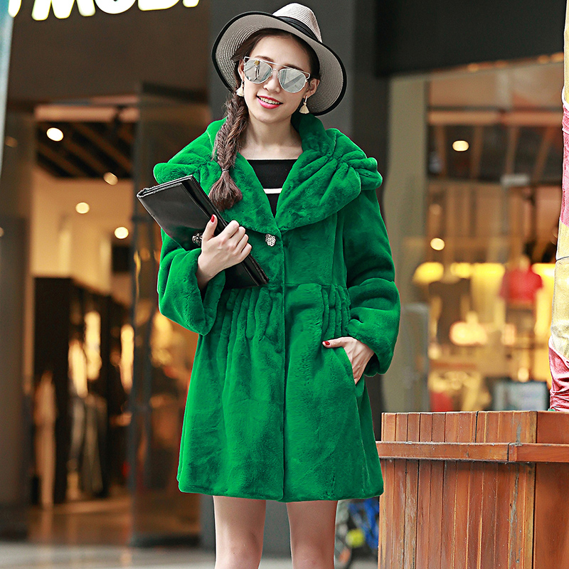 Nerazzurri Winter Faux fur Coat Women with big hood Long sleeve Plus Size Jacket Green Luxury Pleated Female Fake Fur outerwear