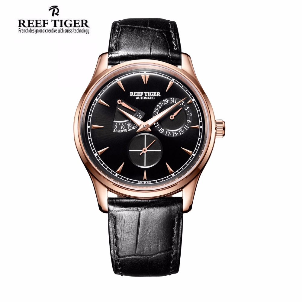 Relogio Masculino Reef Tiger Brand Elegant Watch Men Complete Calendar Power Reserve Rose Gold Automatic Waterproof Watches reef tiger rt mens elegant automatic watches with power reserve complete calendar rose gold watch rga1980