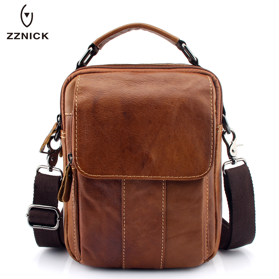 ZZNICK 2017 New Men Genuine Leather Messenger Bag Men Bag Wax Leather Crossbody Shoulder Bag Cowhide Men Business Bags Briefcase