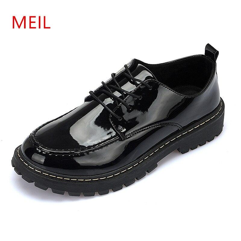 MEIL 2018 nouvelles chaussures décontractées hommes mode zapatos hombre à lacets en cuir verni hommes chaussures oxford chaussures pour hommes