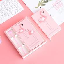 Rosa Menina Amantes Notebook Flamingo Conjunto Caixa de Presente Material Escolar Cadernos Planejadores Escolar Papelaria Esboço