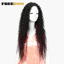 FREEDOM Hair Lace Front Ombre Blonde Wig 26 Inch Long Wavy Red african american Synthetic Wigs Colors Available Free Shippin(China)