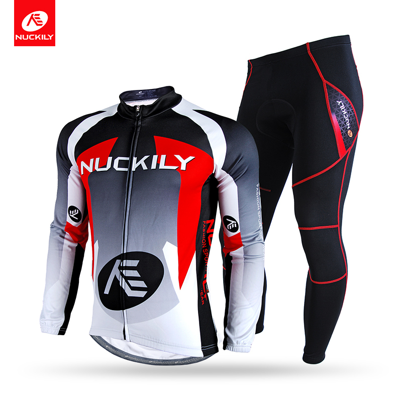 цена на NUCKILY Winter Cycling Set Men's Thermal Fleece Bicycle Jersey and Foam Pad Pants Long Sleeves Cycle Suit NJ532-NS900-W