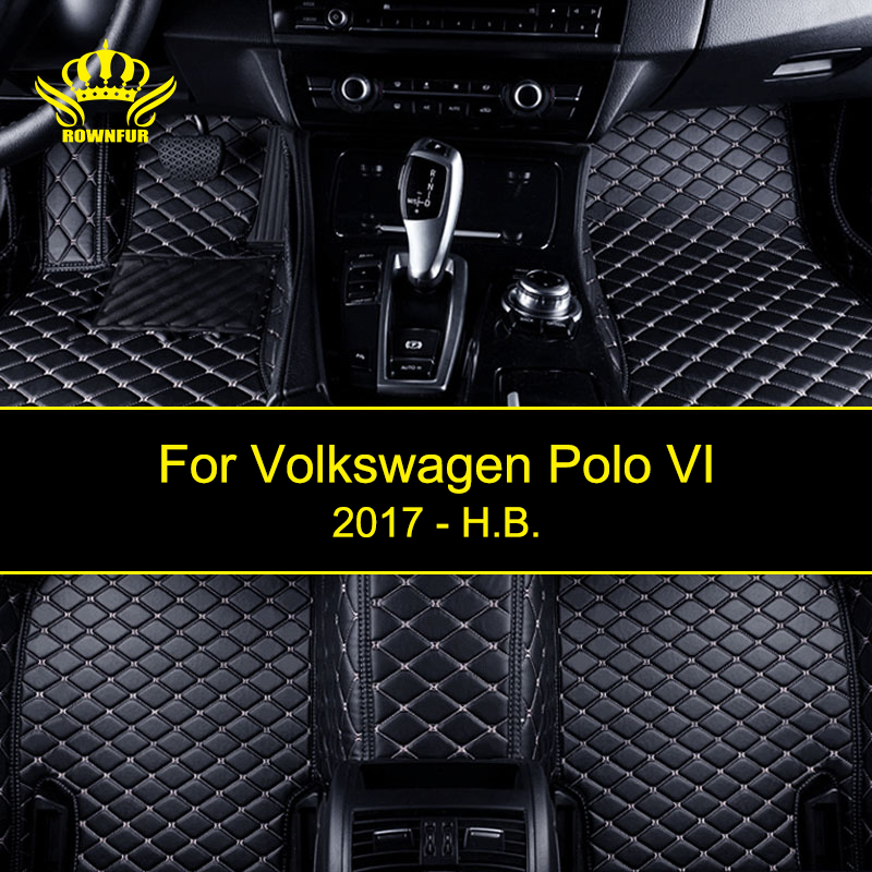 ROWNFUR New Car Floor Mats For Volkswagen Polo VI Protect Car Clean Waterproof Leather Floor Mats Auto Interior Car Carpet Mat auto floor mats for honda cr v crv 2007 2011 foot carpets step mat high quality brand new embroidery leather mats