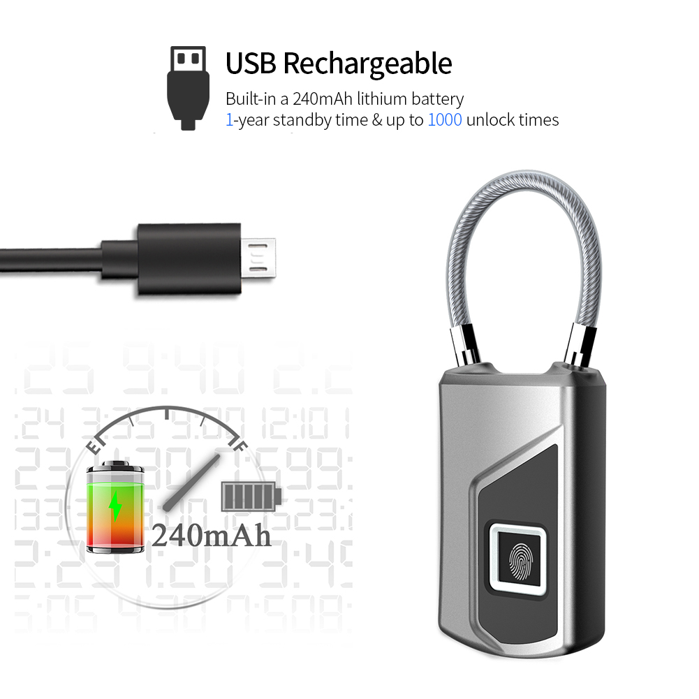 USB Rechargeable Smart Keyless Fingerprint Lock IP66 1m Waterproof Anti-Theft Security Small Padlock for Luggage Case BackpackUSB Rechargeable Smart Keyless Fingerprint Lock IP66 1m Waterproof Anti-Theft Security Small Padlock for Luggage Case Backpack