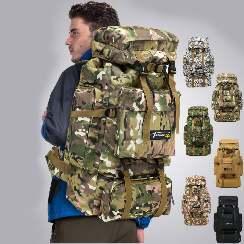 Outdoor 70L Hiking Mountaineering Backpack Water Resistant Army Large Camping Bag MOLLE Camouflage Field Breathable Rucksack Men