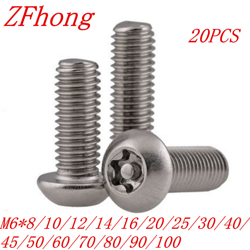 20pcs/lot ISO7380 M6*10/12/16/20/25/30/35/40/50/60 A2 Stainless Steel Torx Button Head Tamper Proof Security Screw Screws щебень фракция 20 40 мм 50 кг