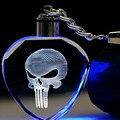 Fancy&Fantasy Light Up The Punisher Skull Logo Skeleton Movie Mask Fashion Keychain Cool  Skull Key Rings For Men's Gift ZDSP