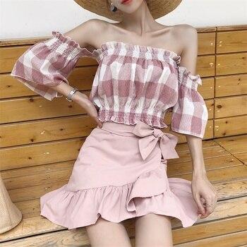 2019 Women Blouse short  summer New Women's Clothing Slash Neck Blouse Lady sweet Tops Woman Comfortable plaid Blouse G574