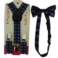 Бесплатная доставка 2016 новых модных малышей мальчики темно-синий якорь печать подтяжки и галстуки-бабочки комплект для детей дети
