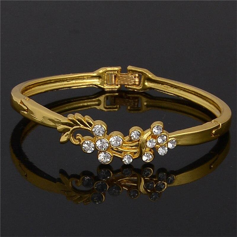 SHUANGR Wholesale 2017 Hot Bracelets Bangles Yellow Gold Color