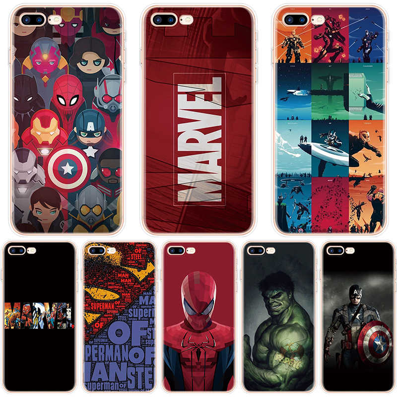 Marvel Avengers Heros Comics Phone Case For iPhone X XR XS Max 7 8 6 6S Plus 5 5S SE Cover Case For iphone 7Plus Soft TPU Coque