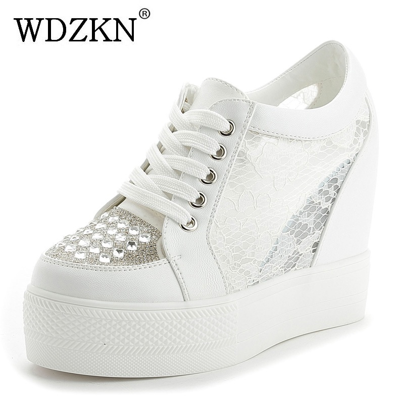 WDZKN 2018 Breathable Air Mesh High Heel Summer Women Height Increasing Shoes Rhinestone Wedge Platform Women Casual Shoes wdzkn 2017 platform wedge casual shoes women high heels black white height increasing women shoes female chaussure size 35 40