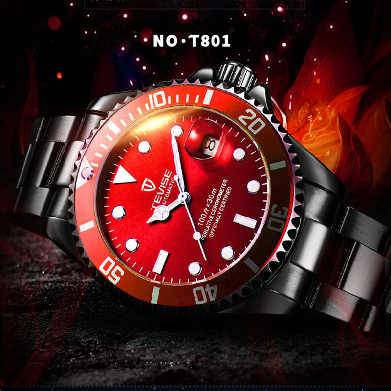 TEVISE Watch Men Automatic Mechanical Watches Men Luxury Brand Business Male Clock Calendar Stainless Steel Watch reloj hombre carnival iw mens mechanical watches top brand luxury automatic watch men stainless steel moon pashe calendar clock reloj hombre