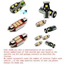 Car Interior Lights For Vw passat 2008 Auto automotive Led interior dome lights bulbs for cars t10 w5w festoon 14pc