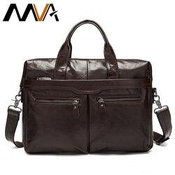 Bolso para hombre MVA, maletín para ordenador portátil de piel auténtica, bolsas de oficina de cuero para hombre, maletín para ordenador portátil, bolso de negocios para documentos 9005