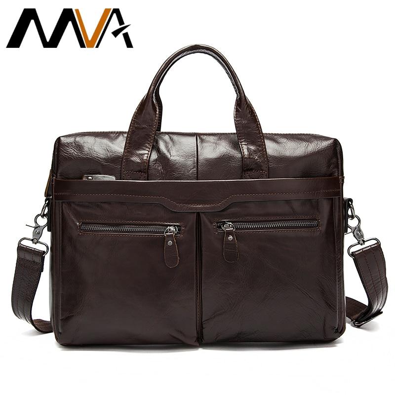MVA Leather men's Briefcase men laptop male messenger bag Men's Genuine leather shoulder bags briefcases for documents bag 9005