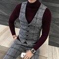 Colete de Calidad Superior Grueso Chaleco de Invierno Hombres de la Moda de Lana A Cuadros juego Del Chaleco Más El Tamaño Slim Fit Vestido Sin Mangas Del Chaleco de Gilet 5XL