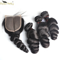 2019 Sale Time-limited Loose Wave Hair Bundles With Closure Pre Plucked Baby Brazilian Remy Lace With Black Nature Color