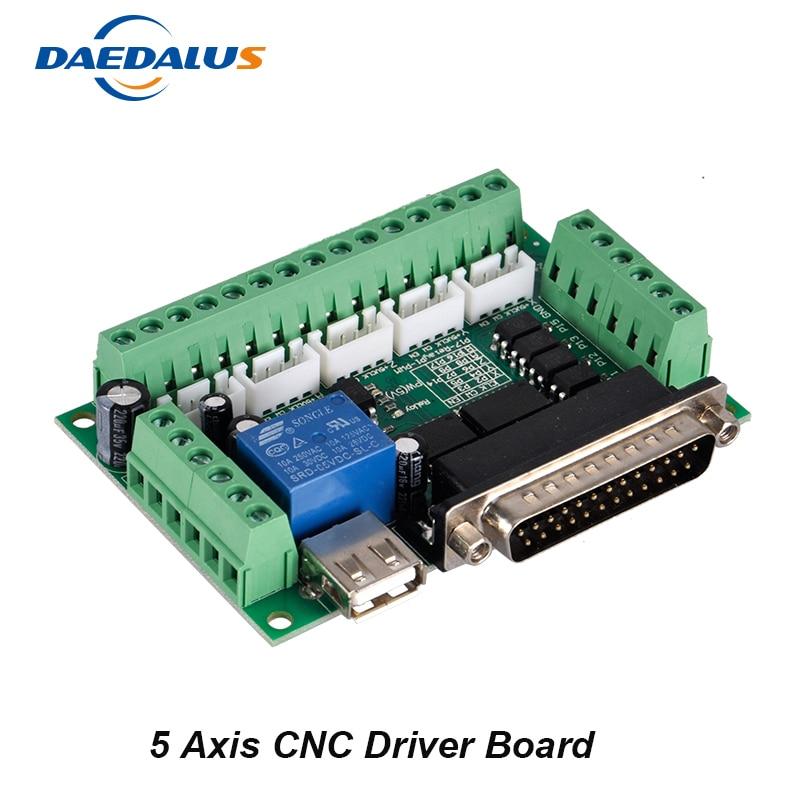New 5 Axis CNC Interface Adapter Breakout Board Mach3 CNC Controller For Stepper Motor Driver Board + USB Cable Числовое программное управление