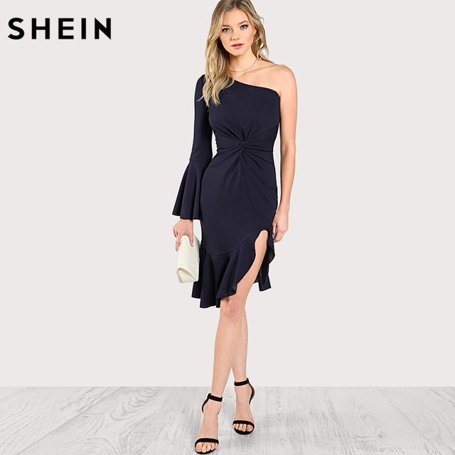 b0921c80a3 SHEIN One Shoulder Twist Front Slit Ruffle Hem Dress Solid Navy Knee Length  Sexy Party Dresses