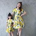 2017 verano vestidos de madre e hija familia mirada de la muchacha y de la madre vestido floral de la marca madre e hija vestido de mamá y yo ropa