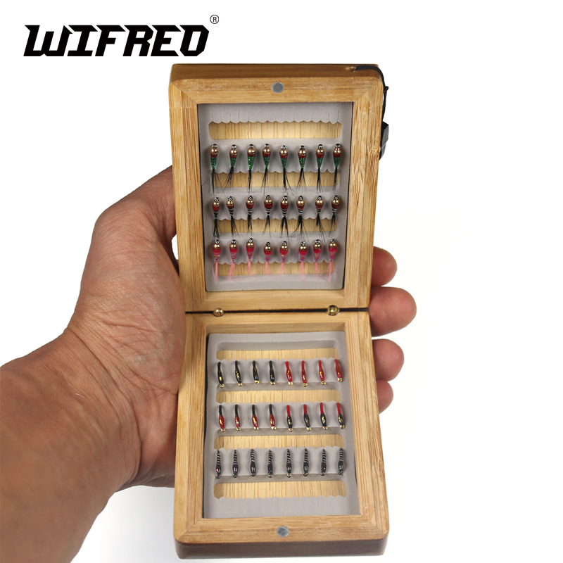 Wifreo 48pcs #14 Midge Nymph B Fly & Brass Bead Head Nymph With Bamboo Case For Trout Whiting Ice Fishing Baits