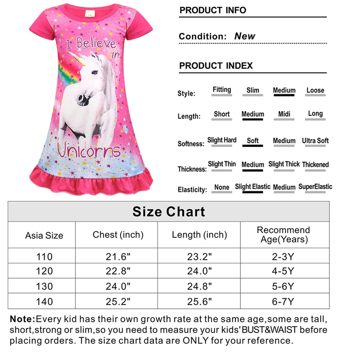 AmzBarley Cartoon Unicorn Pajamas Casual Girls Nightgown kids Cotton Sleepwear Rainbow ptinted Nightclothes children Night Dress in Dresses from Mother Kids