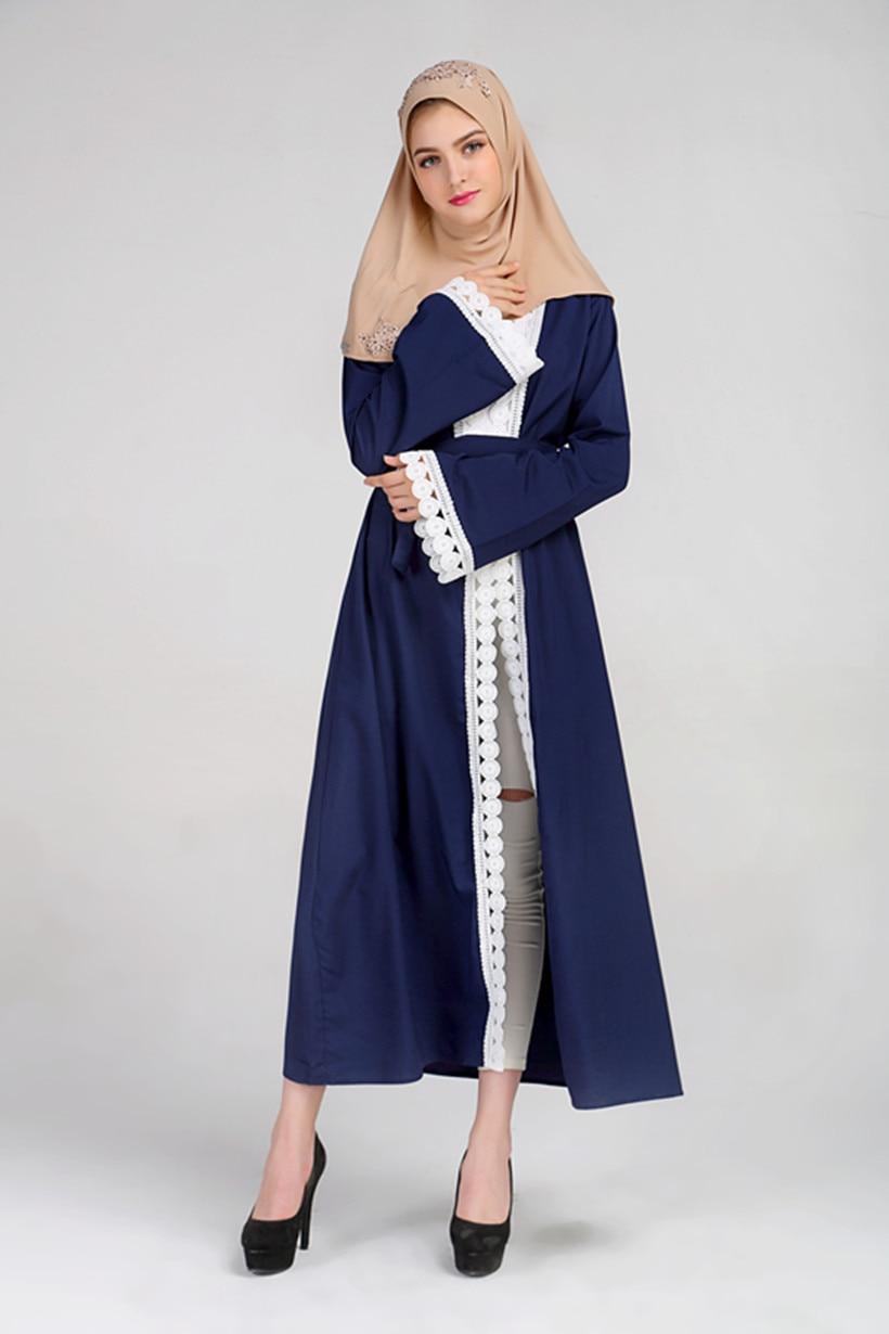 Women Cardigan Lace Abaya Robes Musulmane Turkish Hijab ...