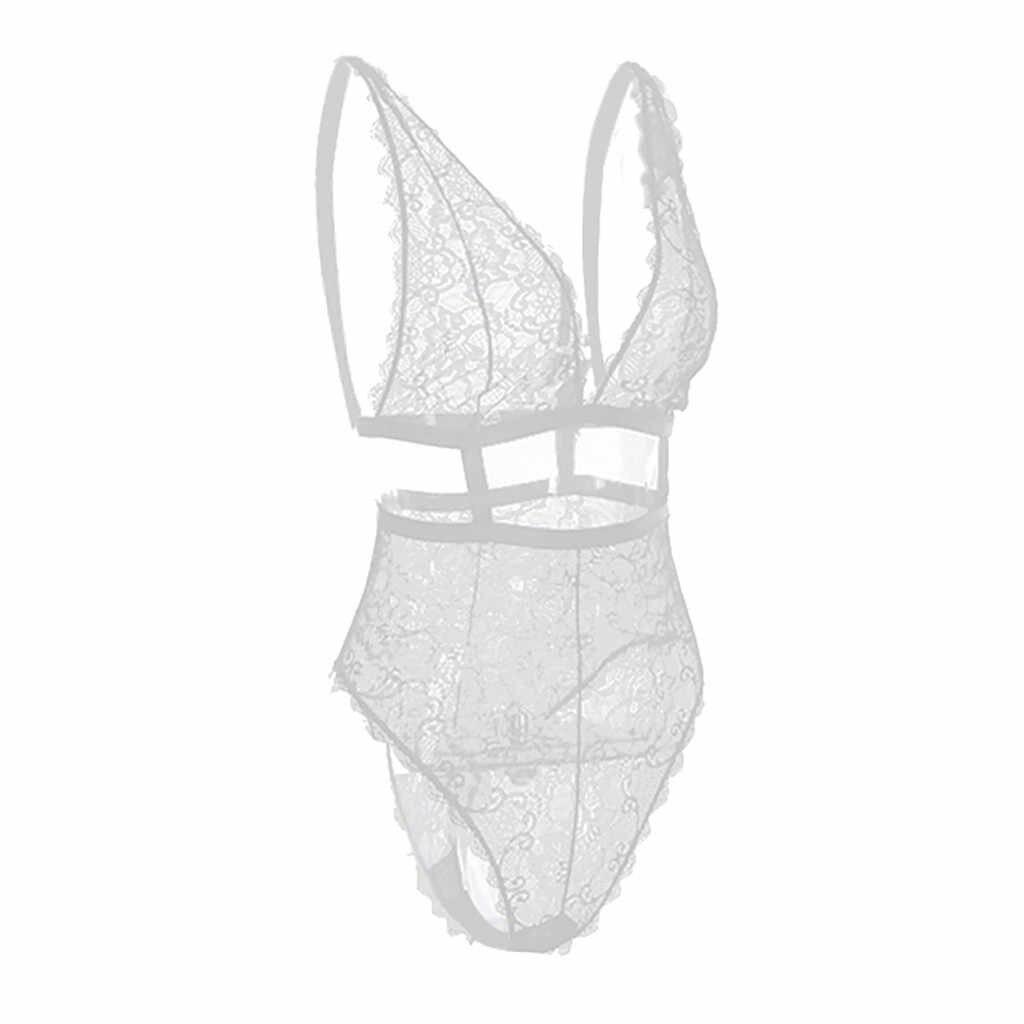 Doudoulu 2019 Для женщин кружева всех ваших сексуаьных желаний женские трусики нижнее белье с глубоким v-образным вырезом Холтер соблазнительный бэбидолл Соединенное нижнее белье # WS