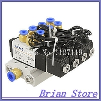 4V110 06 DC 24V 2 Position 5 Way 4 Solenoid Valve Connected Base Muffler