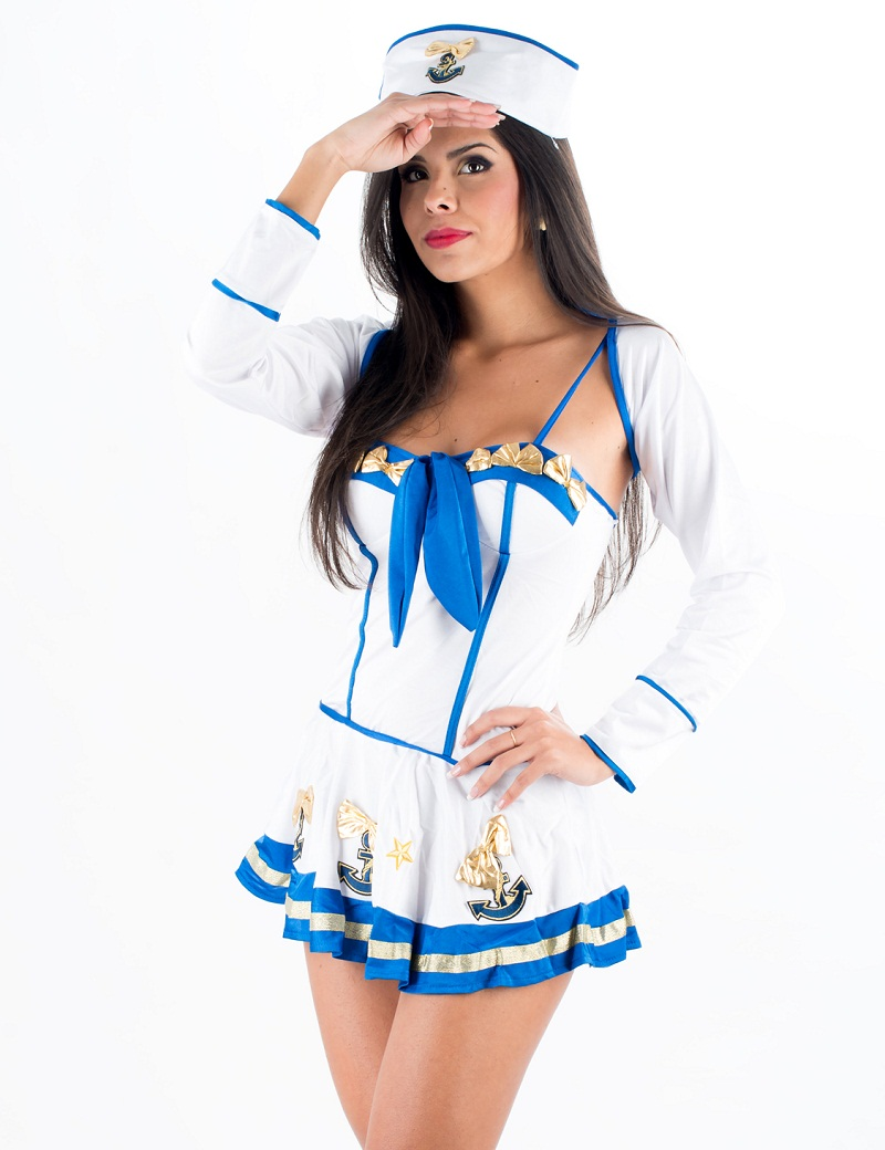 Fantasia Marinheira <font><b>Makin</b></font> <font><b>Waves</b></font> 3 Piece Set Sexy Sailor Girl Ladies Female Fancy Dress Costume Uniform Adult Navy Costume 328335
